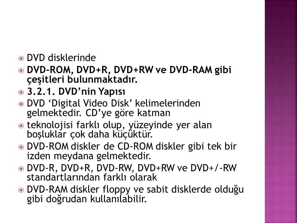  DVD disklerinde  DVD-ROM, DVD+R, DVD+RW ve DVD-RAM gibi çeşitleri bulunmaktadır.  3.2.1. DVD'nin Yapısı  DVD 'Digital Video Disk' kelimelerinden