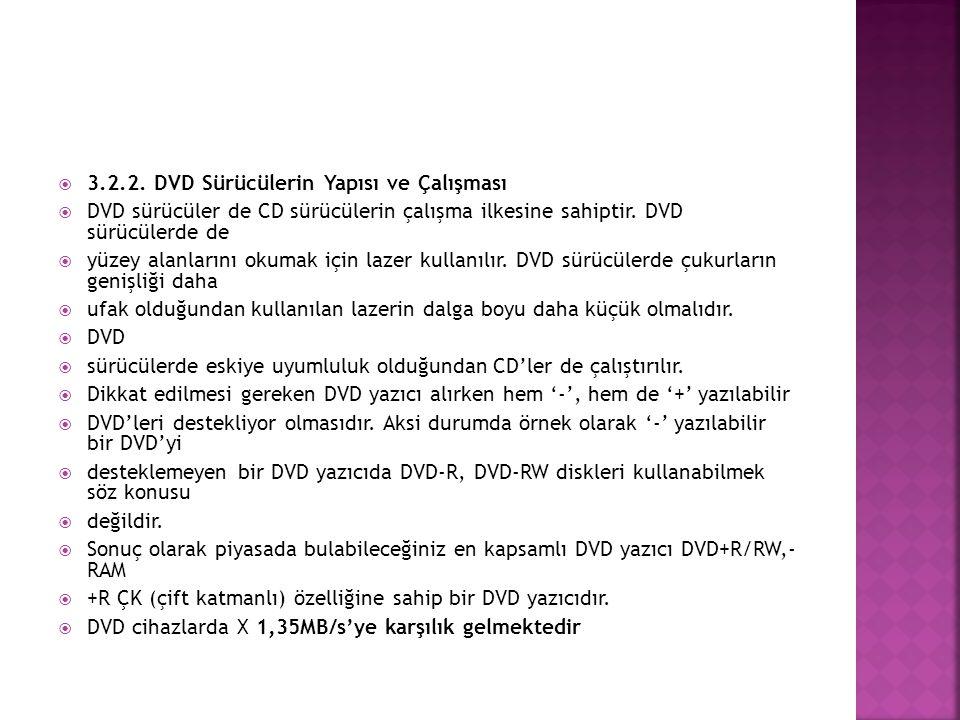  3.2.2. DVD Sürücülerin Yapısı ve Çalışması  DVD sürücüler de CD sürücülerin çalışma ilkesine sahiptir. DVD sürücülerde de  yüzey alanlarını okumak