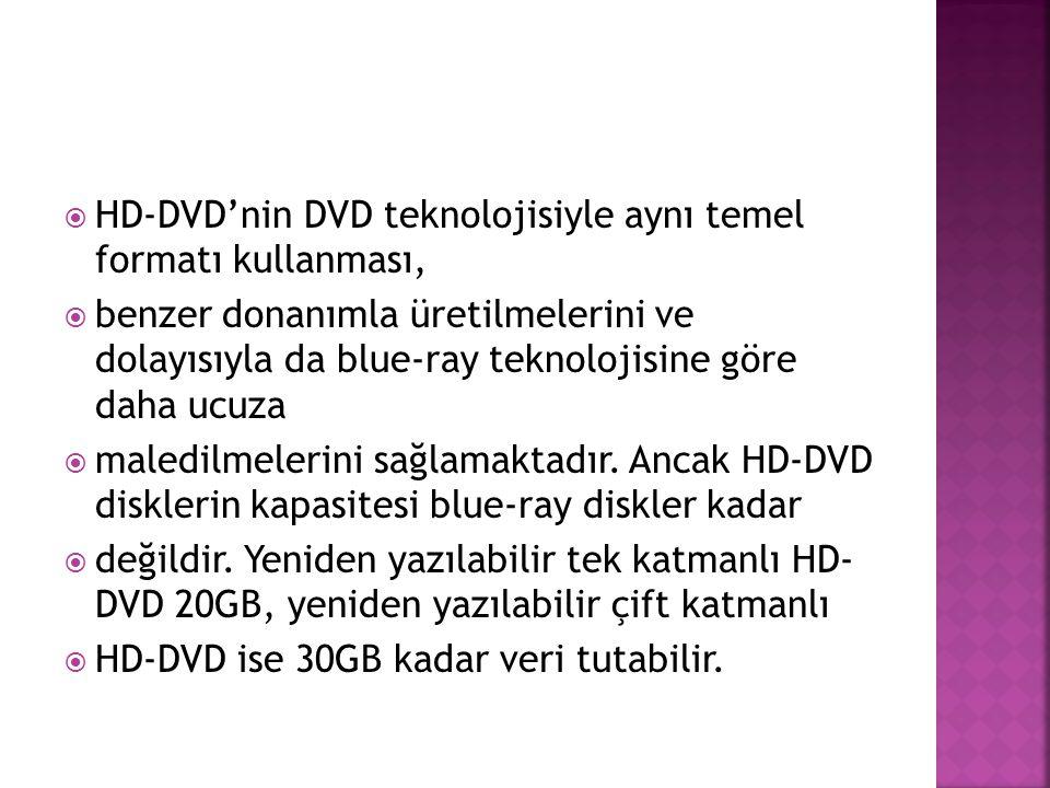  HD-DVD'nin DVD teknolojisiyle aynı temel formatı kullanması,  benzer donanımla üretilmelerini ve dolayısıyla da blue-ray teknolojisine göre daha uc