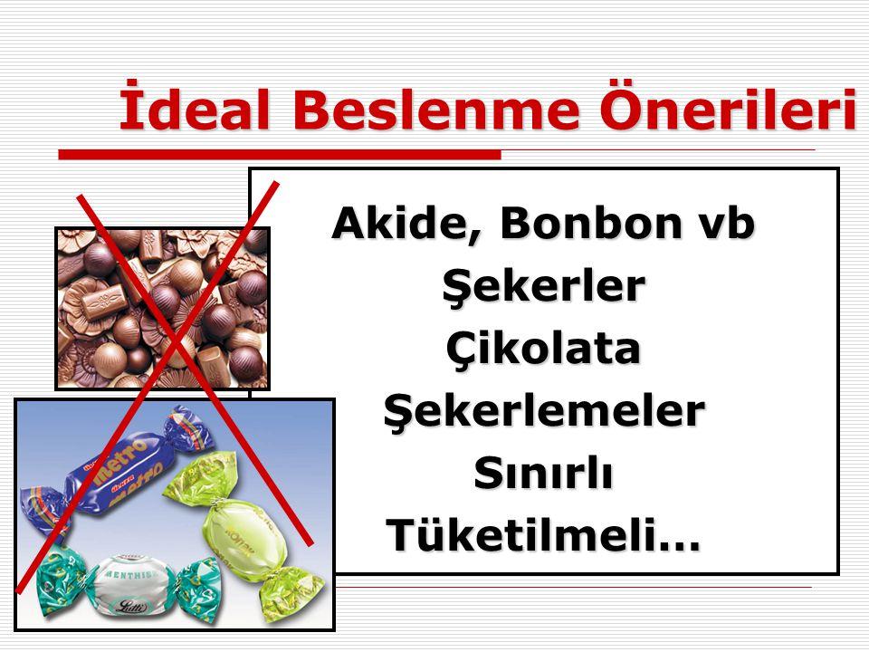 İdeal Beslenme Önerileri Akide, Bonbon vb ŞekerlerÇikolataŞekerlemelerSınırlıTüketilmeli…