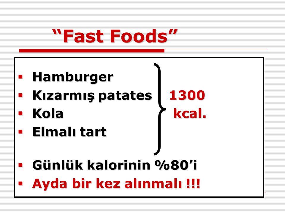 """""""Fast Foods""""  Hamburger  Kızarmış patates 1300  Kola kcal.  Elmalı tart  Günlük kalorinin %80'i  Ayda bir kez alınmalı !!!"""