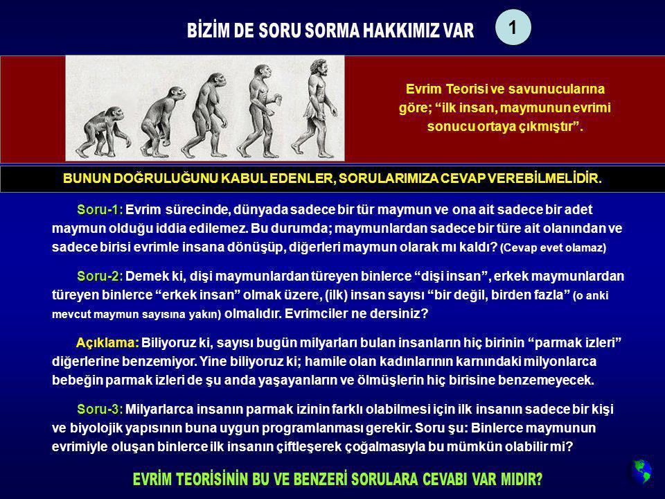 """Evrim Teorisi ve savunucularına göre; """"ilk insan, maymunun evrimi sonucu ortaya çıkmıştır"""". Soru-1: Soru-1: Evrim sürecinde, dünyada sadece bir tür ma"""