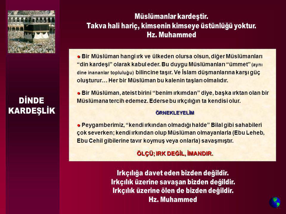 """● ● Bir Müslüman hangi ırk ve ülkeden olursa olsun, diğer Müslümanları """"din kardeşi"""" olarak kabul eder. Bu duygu Müslümanları """"ümmet"""" (aynı dine inana"""