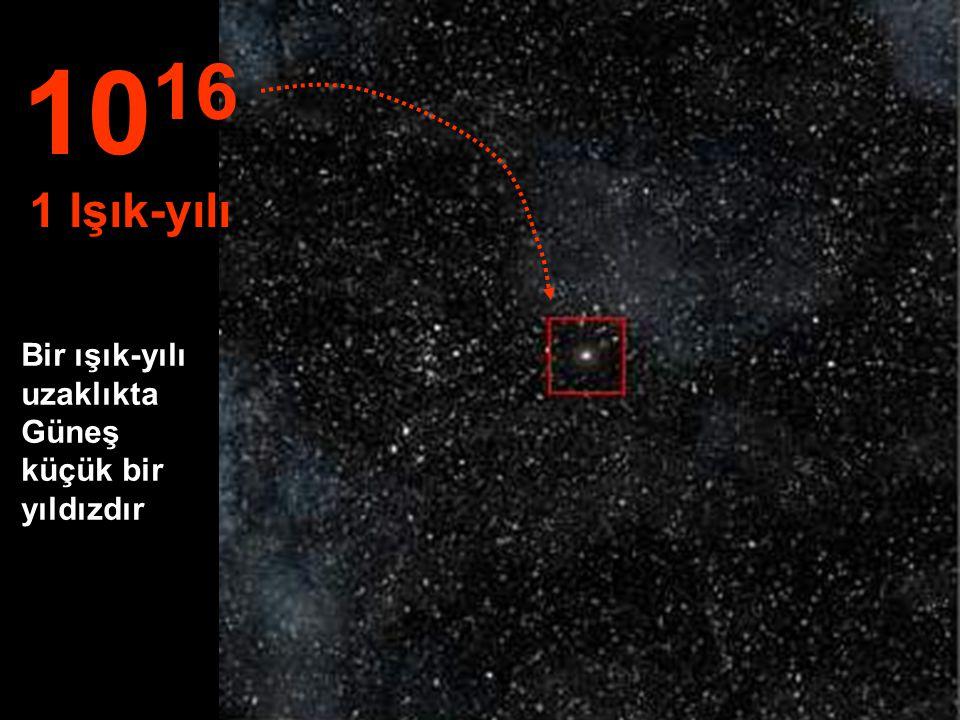 Güneş artık binlerce yıldızın arasında küçük bir yıldızdır... 10 15 1 Trilyon km