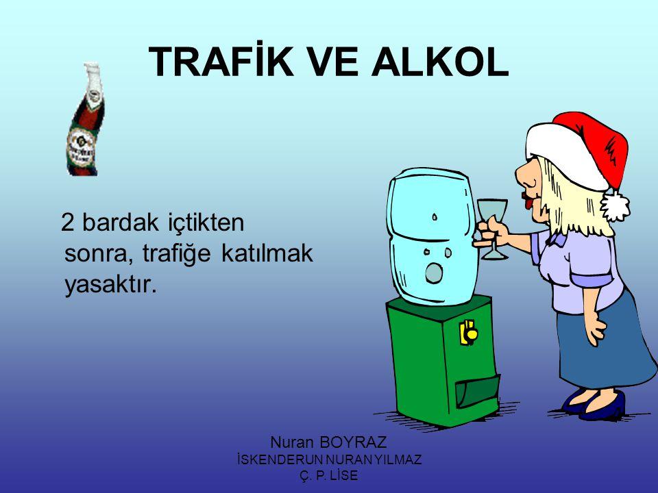İSKENDERUN NURAN YILMAZ Ç. P. LİSE TRAFİK VE ALKOL 2 bardak içtikten sonra, trafiğe katılmak yasaktır. Nuran BOYRAZ