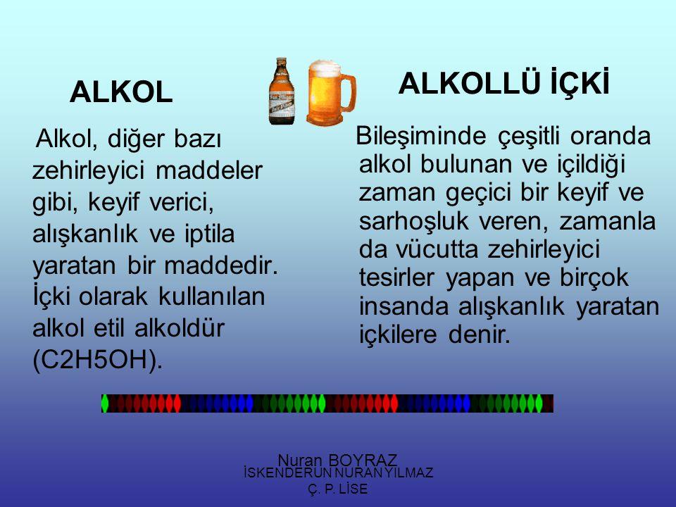 İSKENDERUN NURAN YILMAZ Ç. P. LİSE ALKOL Alkol, diğer bazı zehirleyici maddeler gibi, keyif verici, alışkanlık ve iptila yaratan bir maddedir. İçki ol