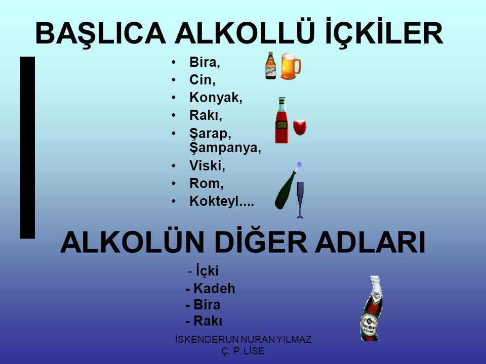 İSKENDERUN NURAN YILMAZ Ç. P. LİSE BAŞLICA ALKOLLÜ İÇKİLER Bira, Cin, Konyak, Rakı, Şarap, Şampanya, Viski, Rom, Kokteyl.... ALKOLÜN DİĞER ADLARI - İç