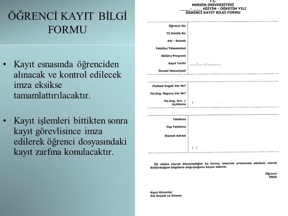 ÖĞRENCİ KAYIT BELGESİ Ön kayıt sonrası öğrencinin sistemden alacağı belgedir.