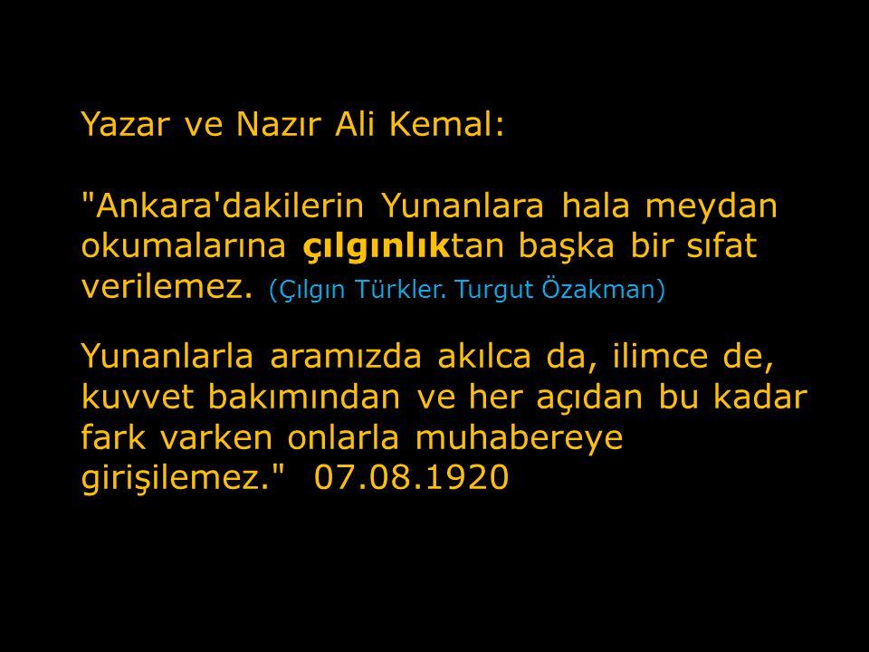 Yazar ve Nazır Ali Kemal: Bu ülkedeki yabancı askerler, Teşkilat-i Milliye den bin kere daha iyidir. 23.04.1920 Ankara'dakiler Kars'ı almışlar.