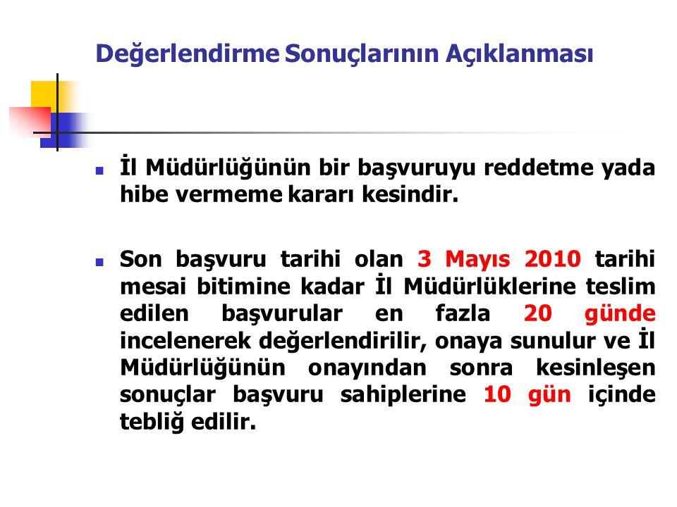 Değerlendirme Sonuçlarının Açıklanması İl Müdürlüğünün bir başvuruyu reddetme yada hibe vermeme kararı kesindir. Son başvuru tarihi olan 3 Mayıs 2010