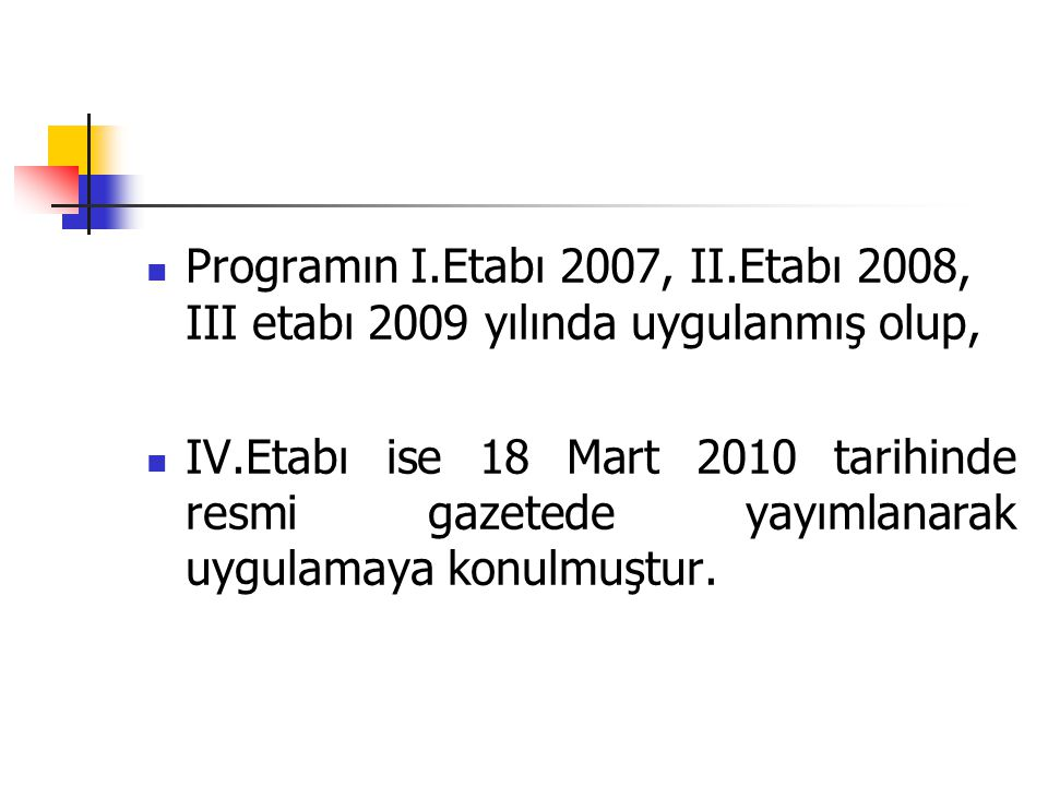 Programın I.Etabı 2007, II.Etabı 2008, III etabı 2009 yılında uygulanmış olup, IV.Etabı ise 18 Mart 2010 tarihinde resmi gazetede yayımlanarak uygulam