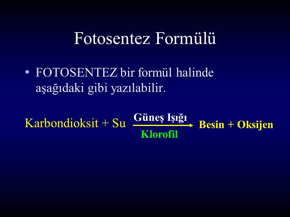 Fotosentez Formülü FOTOSENTEZ bir formül halinde aşağıdaki gibi yazılabilir.