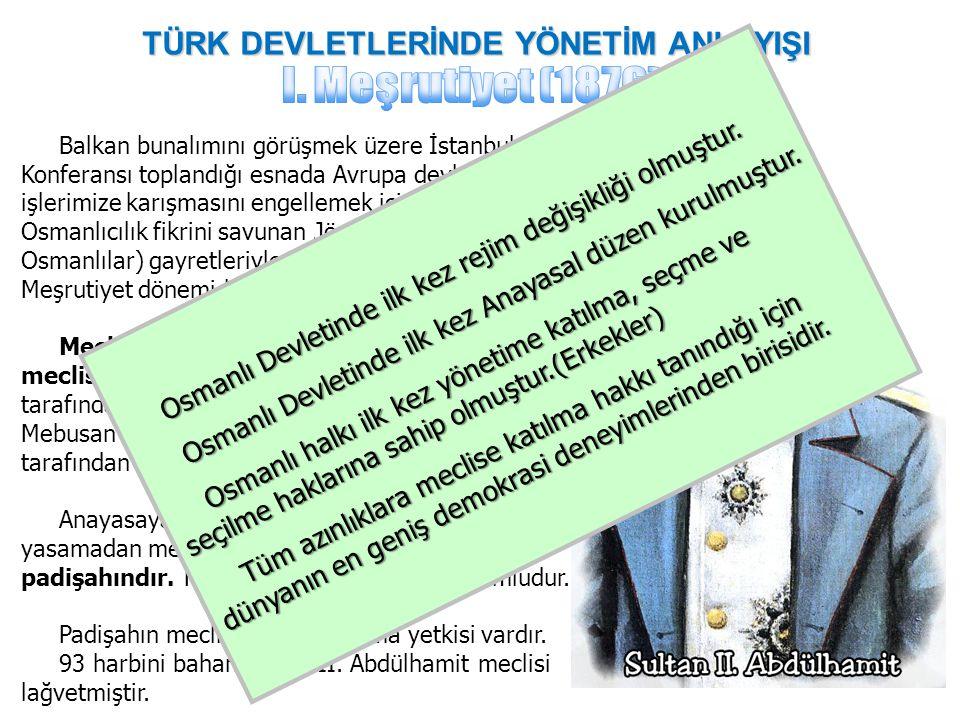 TÜRK DEVLETLERİNDE YÖNETİM ANLAYIŞI Balkan bunalımını görüşmek üzere İstanbul Konferansı toplandığı esnada Avrupa devletlerinin iç işlerimize karışmas