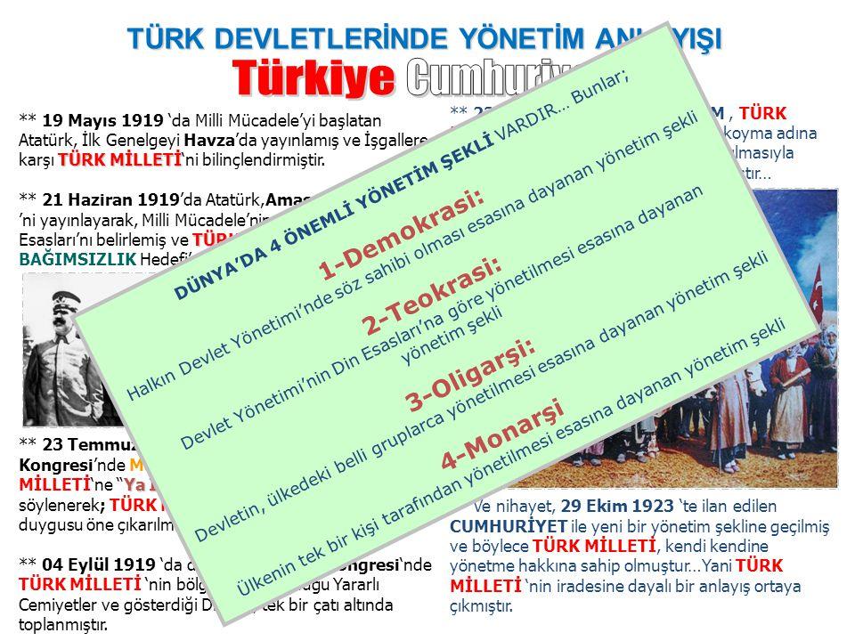 TÜRK DEVLETLERİNDE YÖNETİM ANLAYIŞI TÜRK MİLLETİ ** 19 Mayıs 1919 'da Milli Mücadele'yi başlatan Atatürk, İlk Genelgeyi Havza'da yayınlamış ve İşgalle