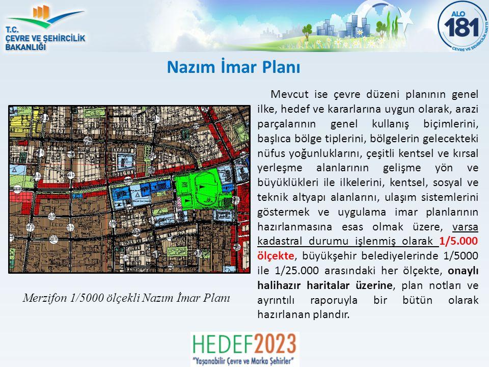 Mevcut ise çevre düzeni planının genel ilke, hedef ve kararlarına uygun olarak, arazi parçalarının genel kullanış biçimlerini, başlıca bölge tiplerini, bölgelerin gelecekteki nüfus yoğunluklarını, çeşitli kentsel ve kırsal yerleşme alanlarının gelişme yön ve büyüklükleri ile ilkelerini, kentsel, sosyal ve teknik altyapı alanlarını, ulaşım sistemlerini göstermek ve uygulama imar planlarının hazırlanmasına esas olmak üzere, varsa kadastral durumu işlenmiş olarak 1/5.000 ölçekte, büyükşehir belediyelerinde 1/5000 ile 1/25.000 arasındaki her ölçekte, onaylı halihazır haritalar üzerine, plan notları ve ayrıntılı raporuyla bir bütün olarak hazırlanan plandır.