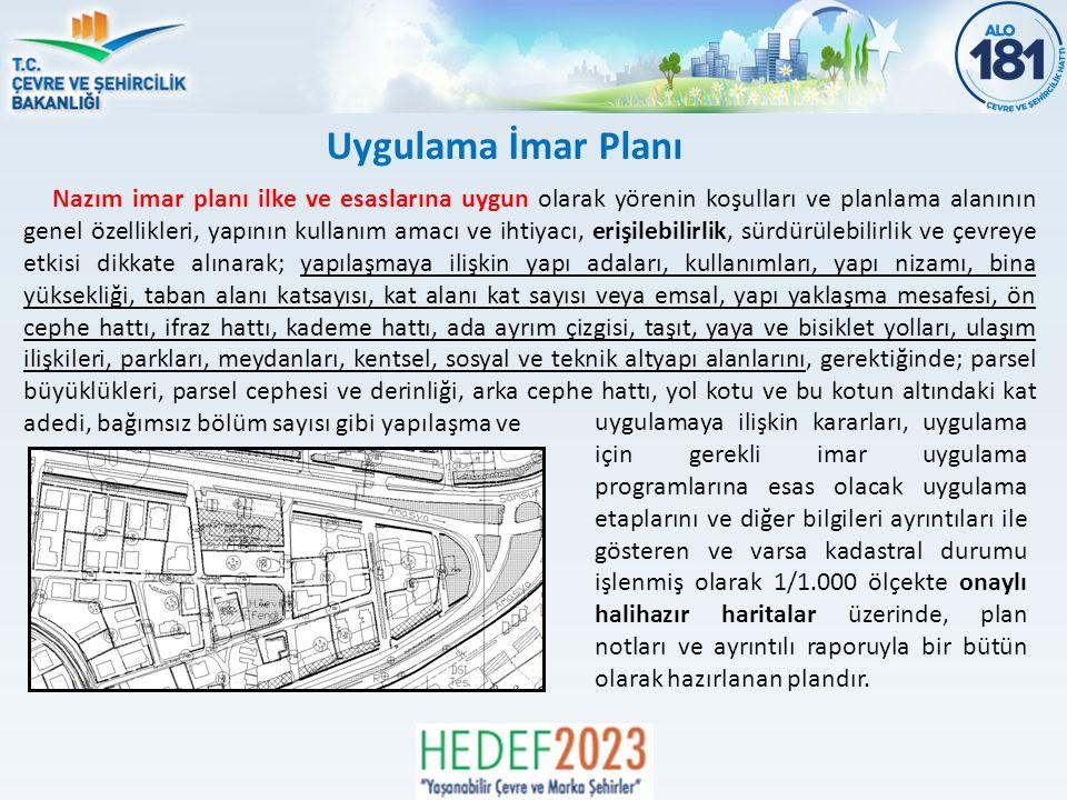 Uygulama İmar Planı Nazım imar planı ilke ve esaslarına uygun olarak yörenin koşulları ve planlama alanının genel özellikleri, yapının kullanım amacı ve ihtiyacı, erişilebilirlik, sürdürülebilirlik ve çevreye etkisi dikkate alınarak; yapılaşmaya ilişkin yapı adaları, kullanımları, yapı nizamı, bina yüksekliği, taban alanı katsayısı, kat alanı kat sayısı veya emsal, yapı yaklaşma mesafesi, ön cephe hattı, ifraz hattı, kademe hattı, ada ayrım çizgisi, taşıt, yaya ve bisiklet yolları, ulaşım ilişkileri, parkları, meydanları, kentsel, sosyal ve teknik altyapı alanlarını, gerektiğinde; parsel büyüklükleri, parsel cephesi ve derinliği, arka cephe hattı, yol kotu ve bu kotun altındaki kat adedi, bağımsız bölüm sayısı gibi yapılaşma ve uygulamaya ilişkin kararları, uygulama için gerekli imar uygulama programlarına esas olacak uygulama etaplarını ve diğer bilgileri ayrıntıları ile gösteren ve varsa kadastral durumu işlenmiş olarak 1/1.000 ölçekte onaylı halihazır haritalar üzerinde, plan notları ve ayrıntılı raporuyla bir bütün olarak hazırlanan plandır.