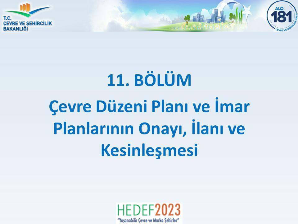 11. BÖLÜM Çevre Düzeni Planı ve İmar Planlarının Onayı, İlanı ve Kesinleşmesi