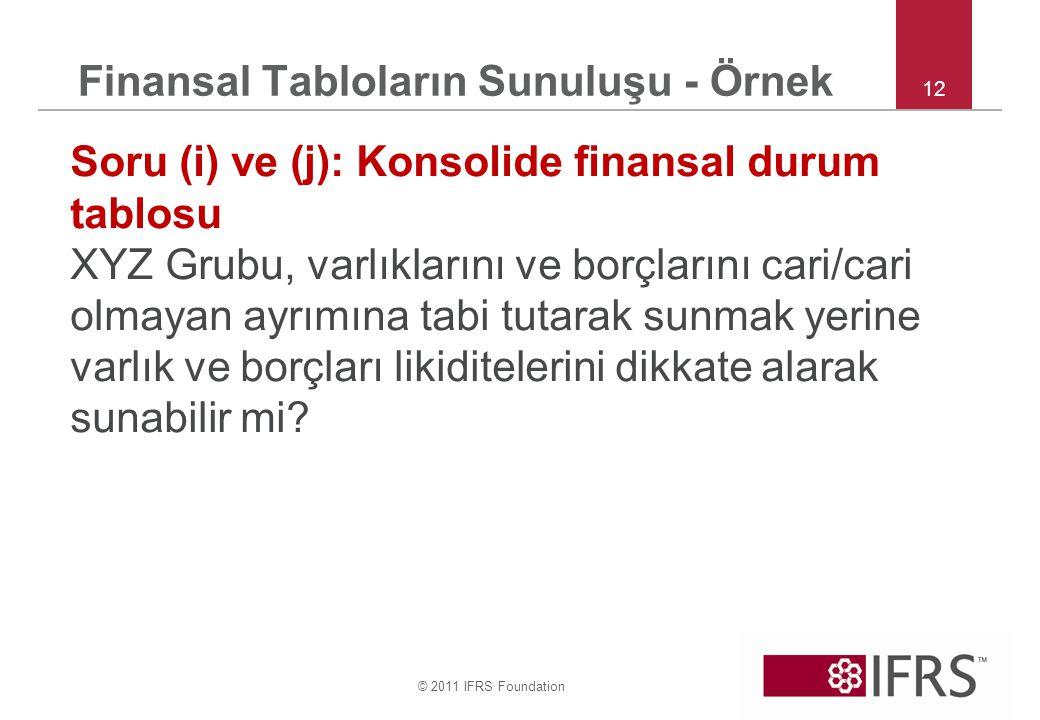 © 2011 IFRS Foundation 12 Finansal Tabloların Sunuluşu - Örnek Soru (i) ve (j): Konsolide finansal durum tablosu XYZ Grubu, varlıklarını ve borçlarını