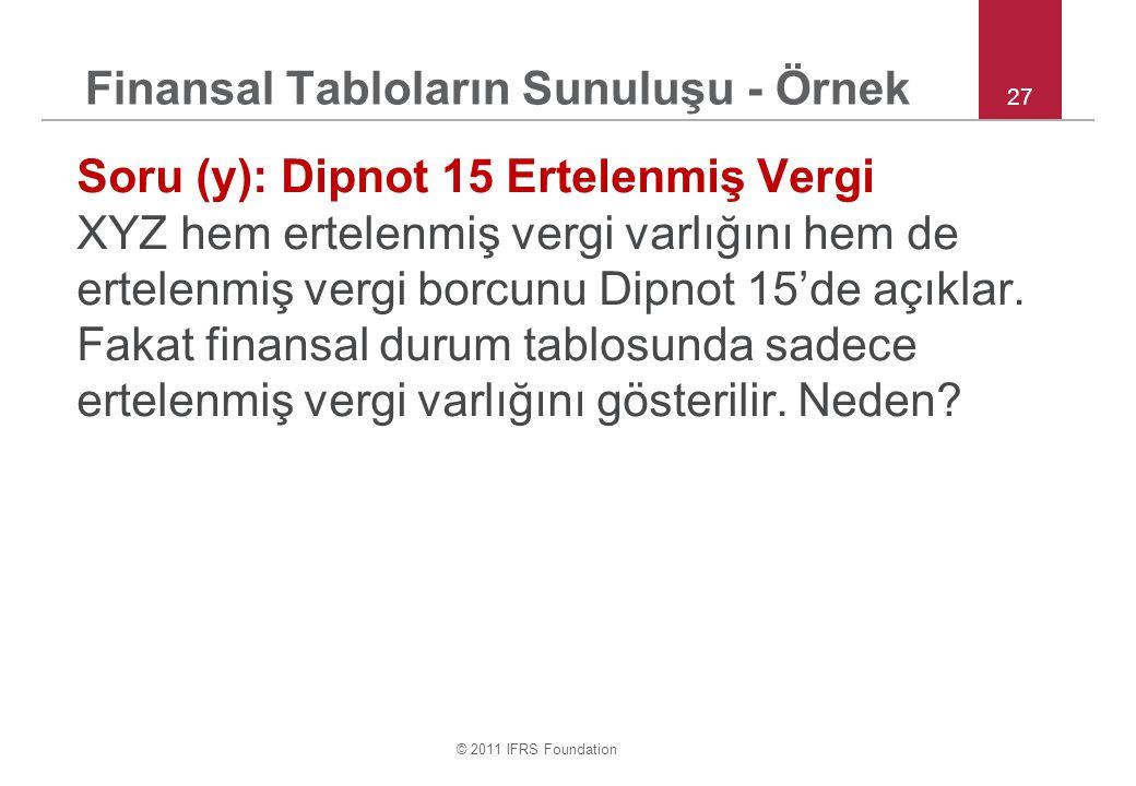 © 2011 IFRS Foundation Finansal Tabloların Sunuluşu - Örnek Soru (y): Dipnot 15 Ertelenmiş Vergi XYZ hem ertelenmiş vergi varlığını hem de ertelenmiş
