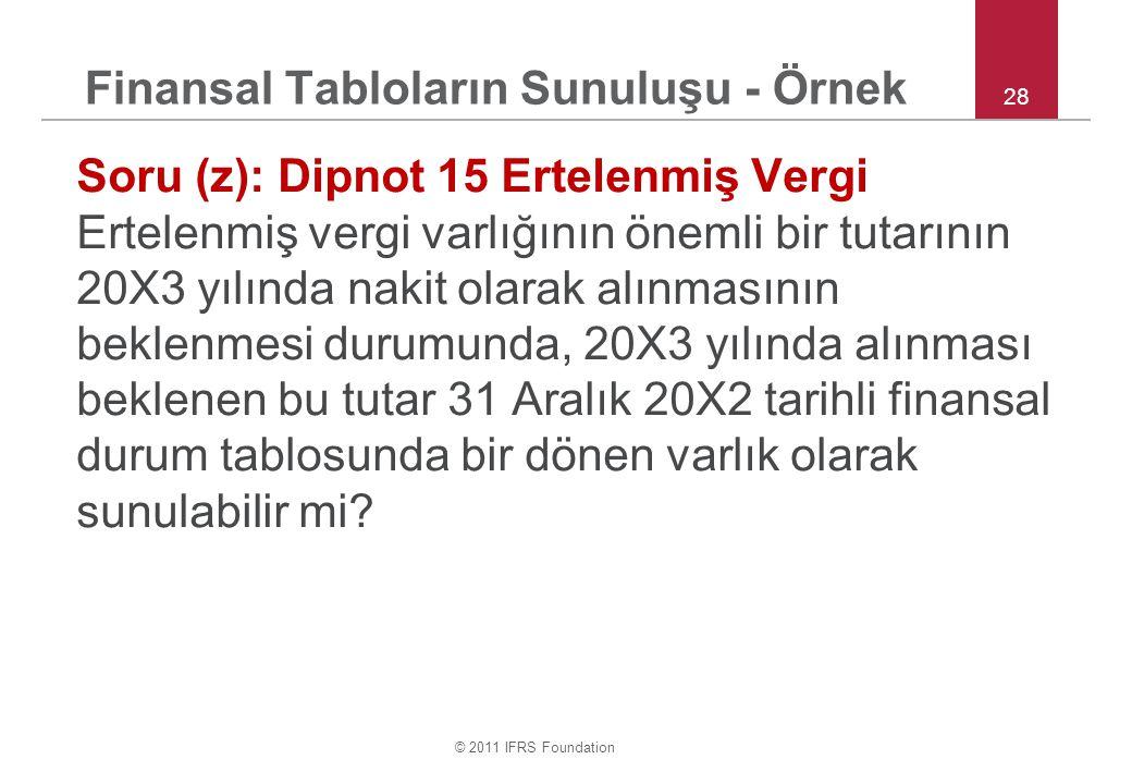 © 2011 IFRS Foundation Finansal Tabloların Sunuluşu - Örnek Soru (z): Dipnot 15 Ertelenmiş Vergi Ertelenmiş vergi varlığının önemli bir tutarının 20X3