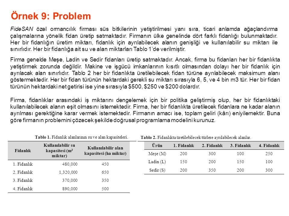 Örnek 9: Problem FideSAN özel ormancılık firması süs bitkilerinin yetiştirilmesi yanı sıra, ticari anlamda ağaçlandırma çalışmalarına yönelik fidan ür