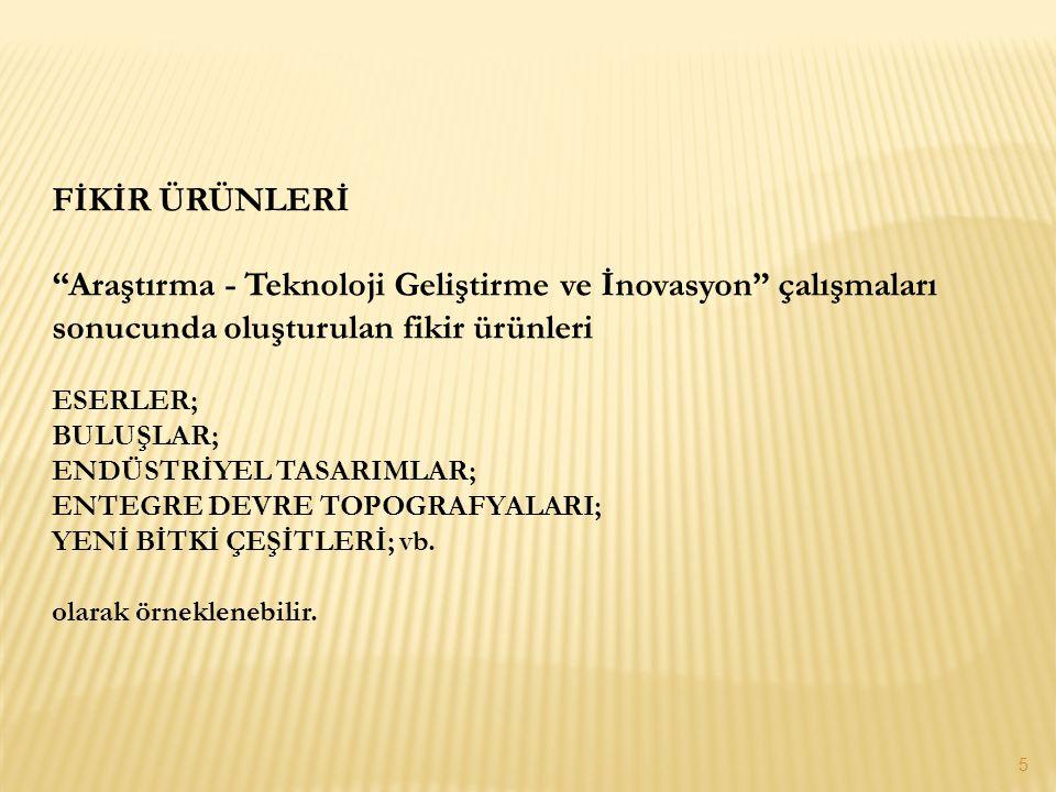 """FİKİR ÜRÜNLERİ """"Araştırma - Teknoloji Geliştirme ve İnovasyon"""" çalışmaları sonucunda oluşturulan fikir ürünleri ESERLER; BULUŞLAR; ENDÜSTRİYEL TASARIM"""