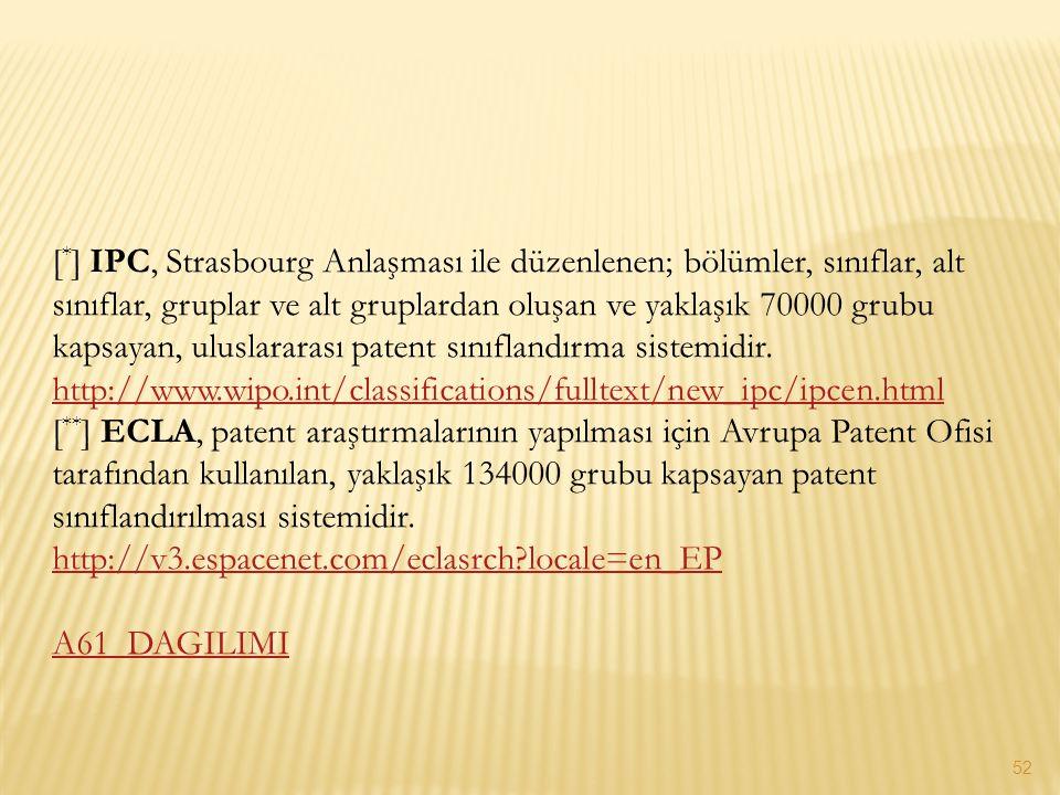 [ * ] IPC, Strasbourg Anlaşması ile düzenlenen; bölümler, sınıflar, alt sınıflar, gruplar ve alt gruplardan oluşan ve yaklaşık 70000 grubu kapsayan, u