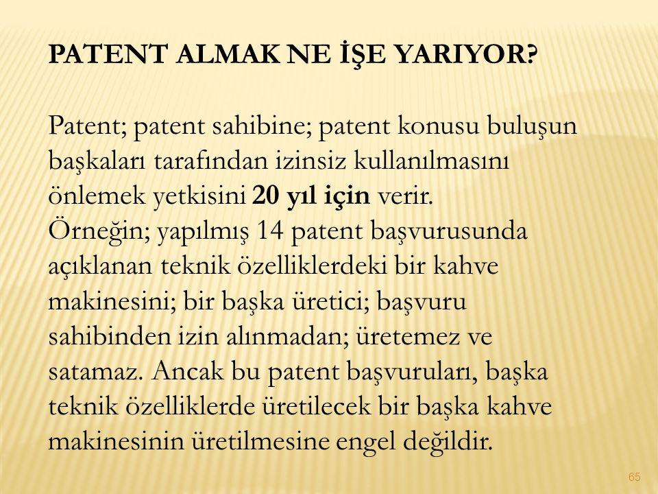 PATENT ALMAK NE İŞE YARIYOR? Patent; patent sahibine; patent konusu buluşun başkaları tarafından izinsiz kullanılmasını önlemek yetkisini 20 yıl için
