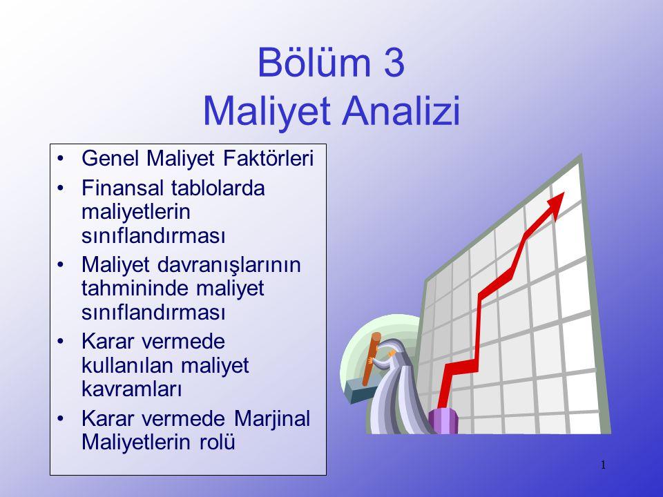 2 Örnek: Dondurma Üretim Maliyetleri