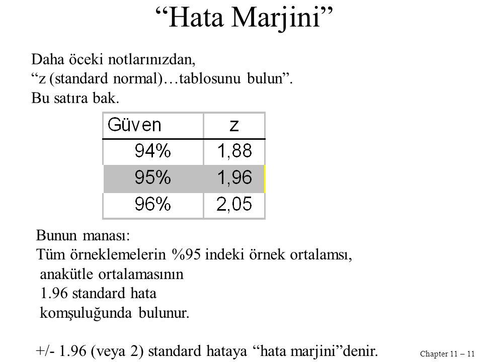 Chapter 11 – 11 Hata Marjini Bunun manası: Tüm örneklemelerin %95 indeki örnek ortalamsı, anakütle ortalamasının 1.96 standard hata komşuluğunda bulunur.