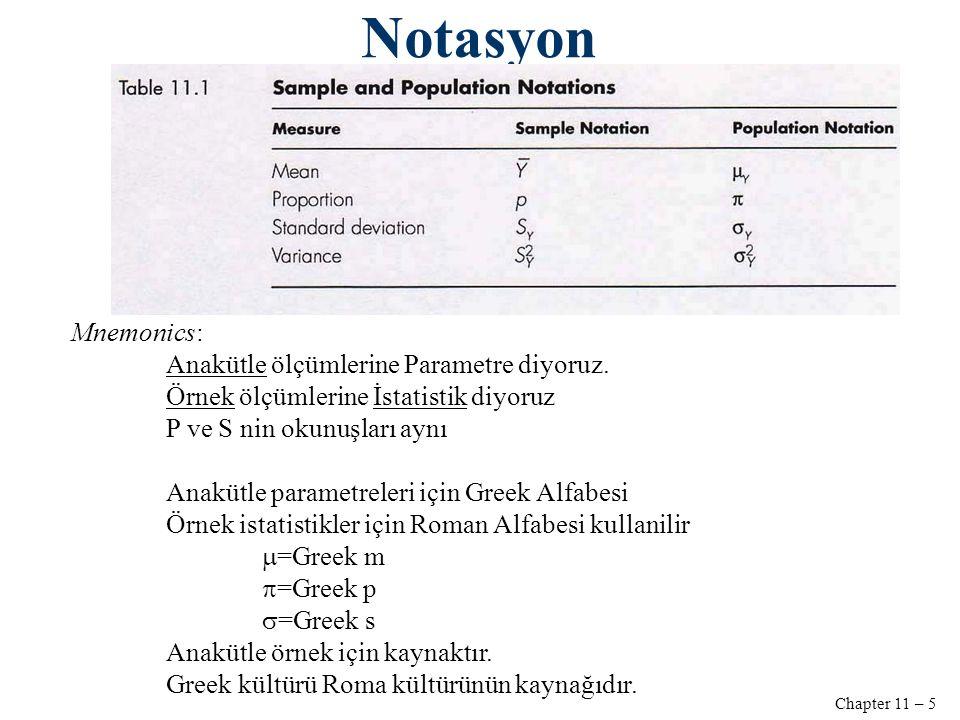 Chapter 11 – 5 Notasyon Mnemonics: Anakütle ölçümlerine Parametre diyoruz.