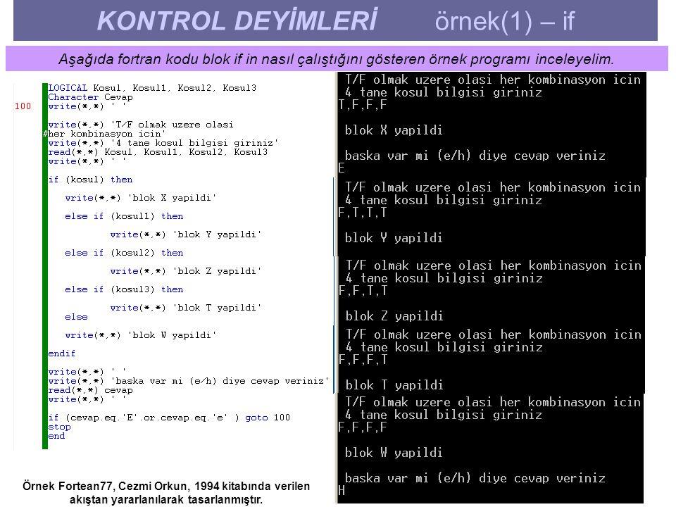 KONTROL DEYİMLERİ örnek(1) – if Aşağıda fortran kodu blok if in nasıl çalıştığını gösteren örnek programı inceleyelim. Örnek Fortean77, Cezmi Orkun, 1