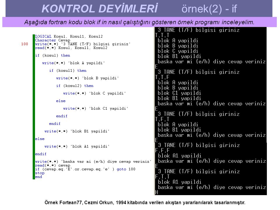KONTROL DEYİMLERİ örnek(2) - if Aşağıda fortran kodu blok if in nasıl çalıştığını gösteren örnek programı inceleyelim. Örnek Fortean77, Cezmi Orkun, 1