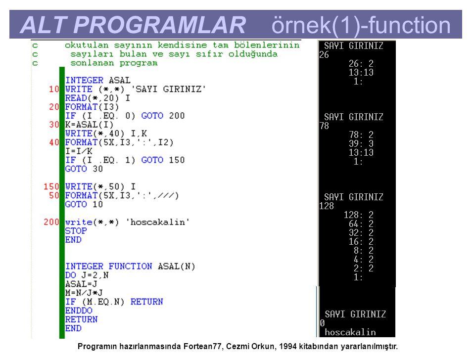 ALT PROGRAMLAR örnek(1)-function Programın hazırlanmasında Fortean77, Cezmi Orkun, 1994 kitabından yararlanılmıştır.