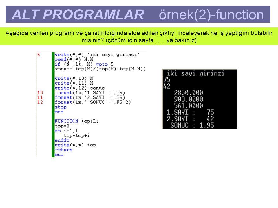 ALT PROGRAMLAR örnek(2)-function Aşağıda verilen programı ve çalıştırıldığında elde edilen çıktıyı inceleyerek ne iş yaptığını bulabilir misiniz.