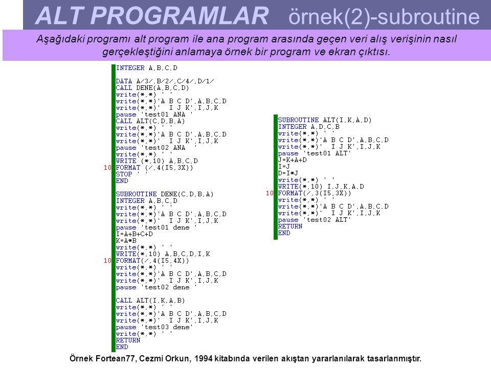 ALT PROGRAMLAR örnek(2)-subroutine Aşağıdaki programı alt program ile ana program arasında geçen veri alış verişinin nasıl gerçekleştiğini anlamaya örnek bir program ve ekran çıktısı.