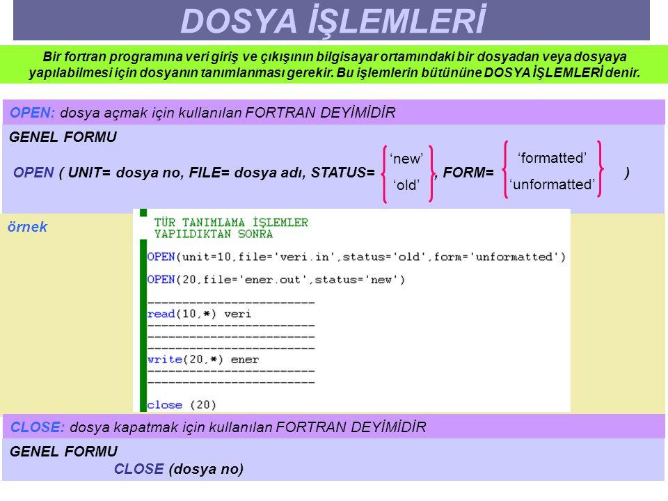 DOSYA İŞLEMLERİ Bir fortran programına veri giriş ve çıkışının bilgisayar ortamındaki bir dosyadan veya dosyaya yapılabilmesi için dosyanın tanımlanma