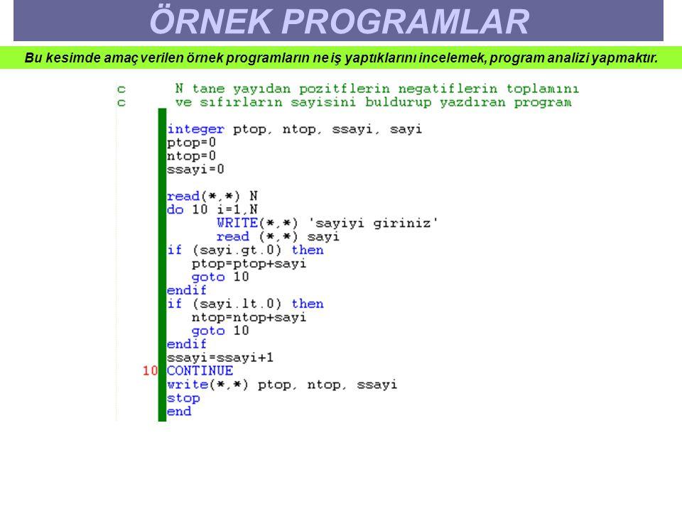 ÖRNEK PROGRAMLAR Bu kesimde amaç verilen örnek programların ne iş yaptıklarını incelemek, program analizi yapmaktır.