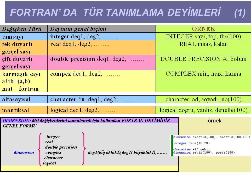 FORTRAN' DA TÜR TANIMLAMA DEYİMLERİ (1)