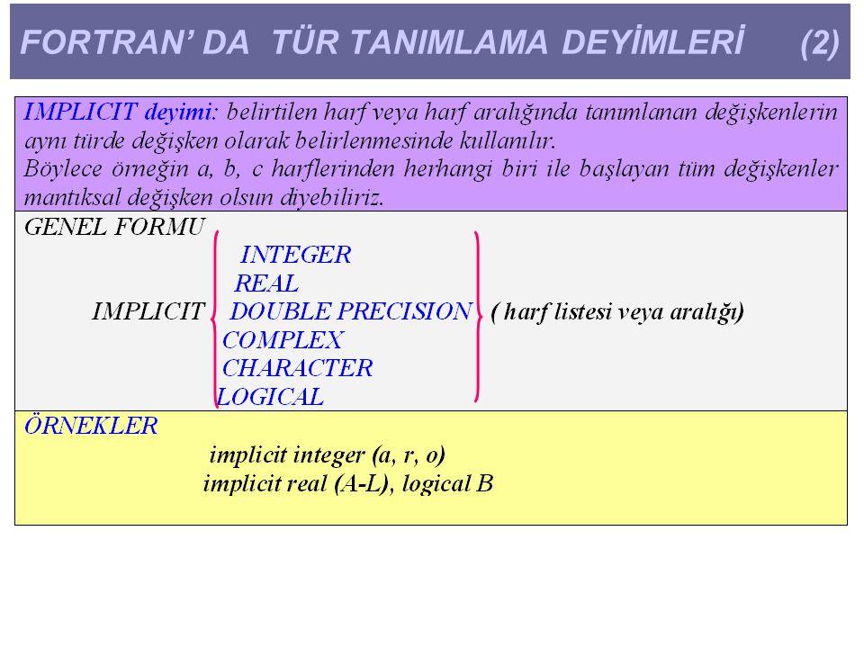 FORTRAN' DA TÜR TANIMLAMA DEYİMLERİ (2)