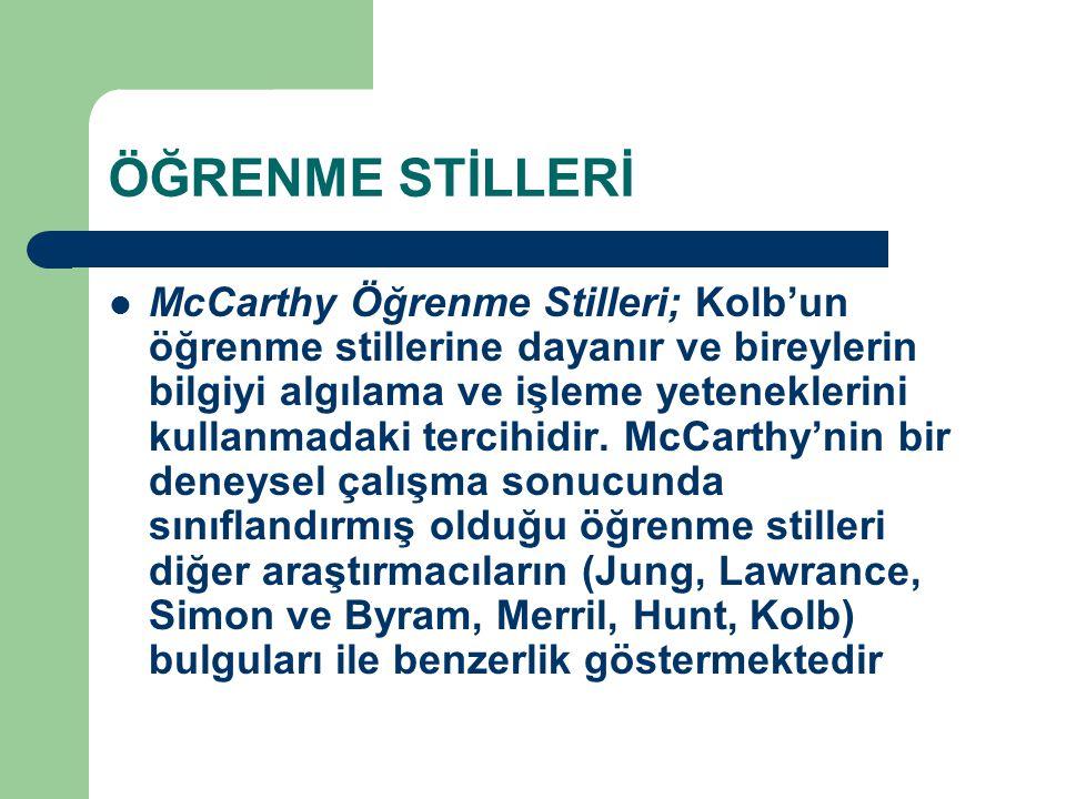 ÖĞRENME STİLLERİ McCarthy Öğrenme Stilleri; Kolb'un öğrenme stillerine dayanır ve bireylerin bilgiyi algılama ve işleme yeteneklerini kullanmadaki ter