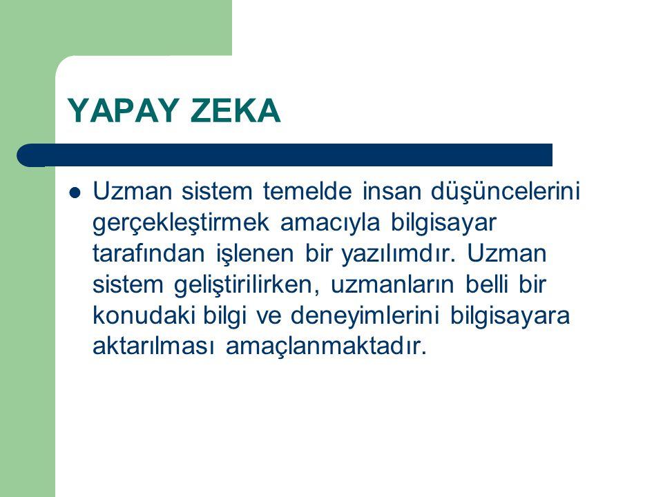 YAPAY ZEKA Uzman sistem temelde insan düşüncelerini gerçekleştirmek amacıyla bilgisayar tarafından işlenen bir yazılımdır.