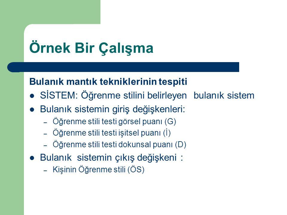 Örnek Bir Çalışma Bulanık mantık tekniklerinin tespiti SİSTEM: Öğrenme stilini belirleyen bulanık sistem Bulanık sistemin giriş değişkenleri: – Öğrenme stili testi görsel puanı (G) – Öğrenme stili testi işitsel puanı (İ) – Öğrenme stili testi dokunsal puanı (D) Bulanık sistemin çıkış değişkeni : – Kişinin Öğrenme stili (ÖS)