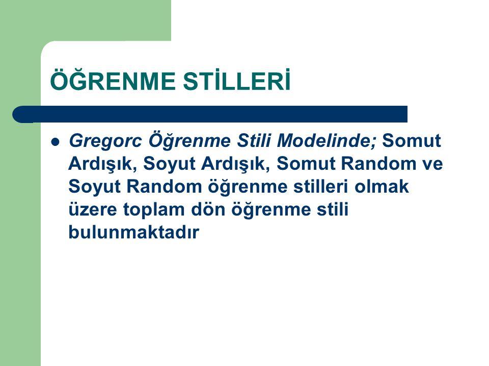 ÖĞRENME STİLLERİ Gregorc Öğrenme Stili Modelinde; Somut Ardışık, Soyut Ardışık, Somut Random ve Soyut Random öğrenme stilleri olmak üzere toplam dön öğrenme stili bulunmaktadır