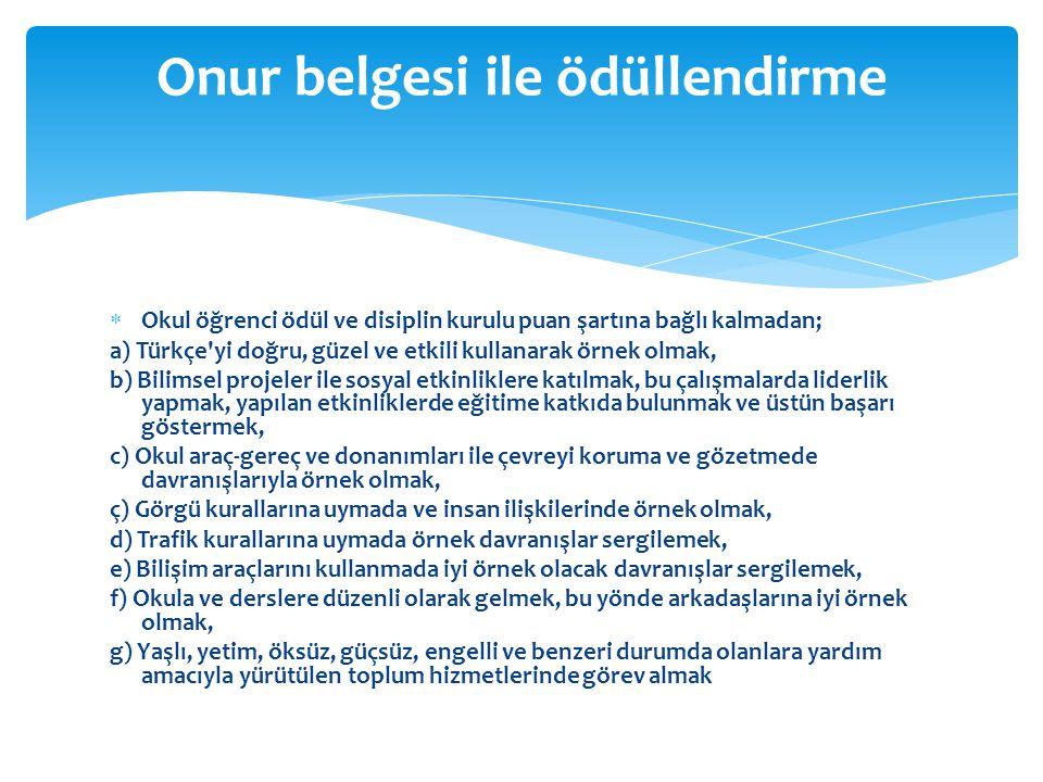  Okul öğrenci ödül ve disiplin kurulu puan şartına bağlı kalmadan; a) Türkçe'yi doğru, güzel ve etkili kullanarak örnek olmak, b) Bilimsel projeler i