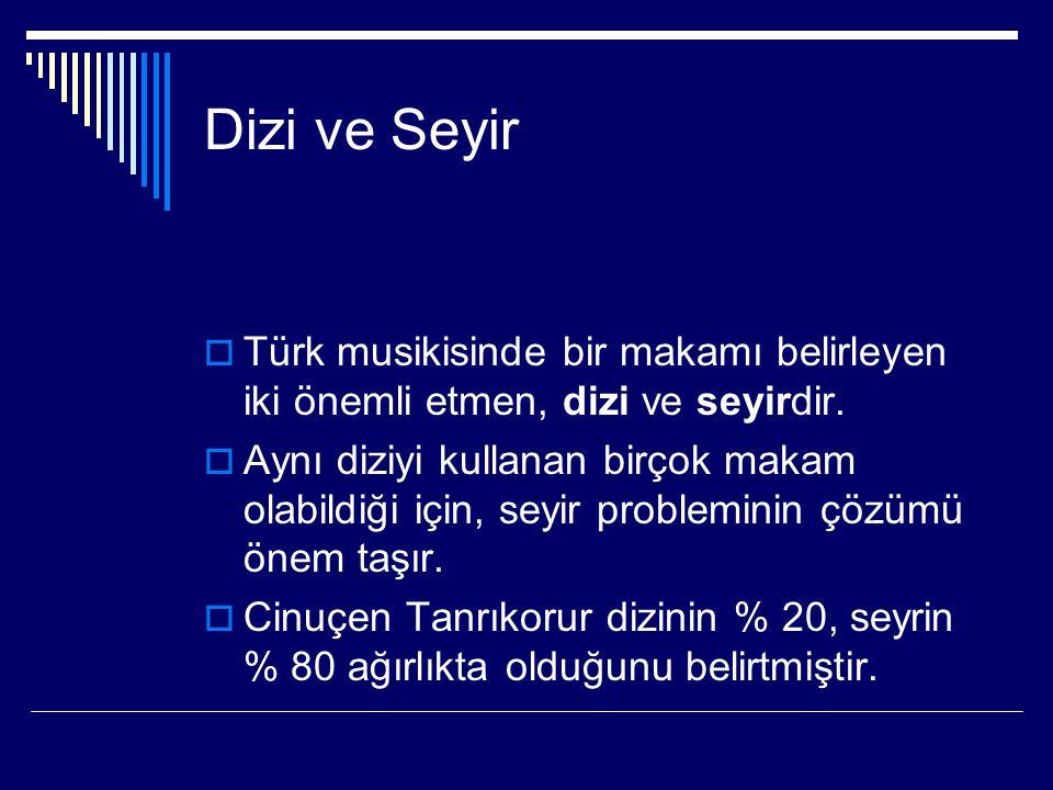 Dizi ve Seyir  Türk musikisinde bir makamı belirleyen iki önemli etmen, dizi ve seyirdir.  Aynı diziyi kullanan birçok makam olabildiği için, seyir
