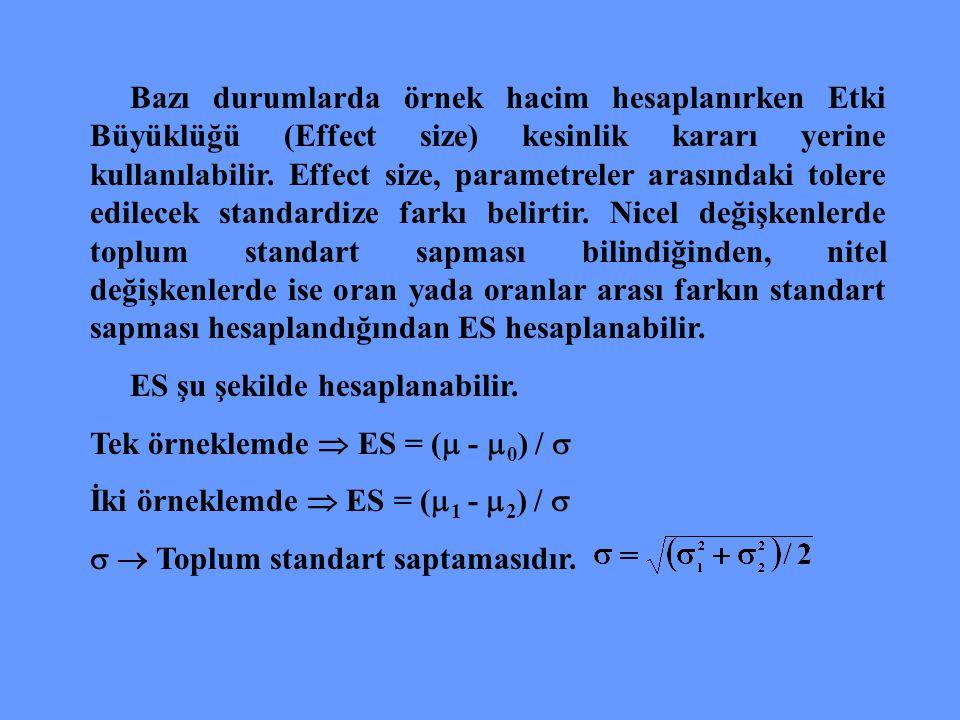 Bazı durumlarda örnek hacim hesaplanırken Etki Büyüklüğü (Effect size) kesinlik kararı yerine kullanılabilir. Effect size, parametreler arasındaki tol
