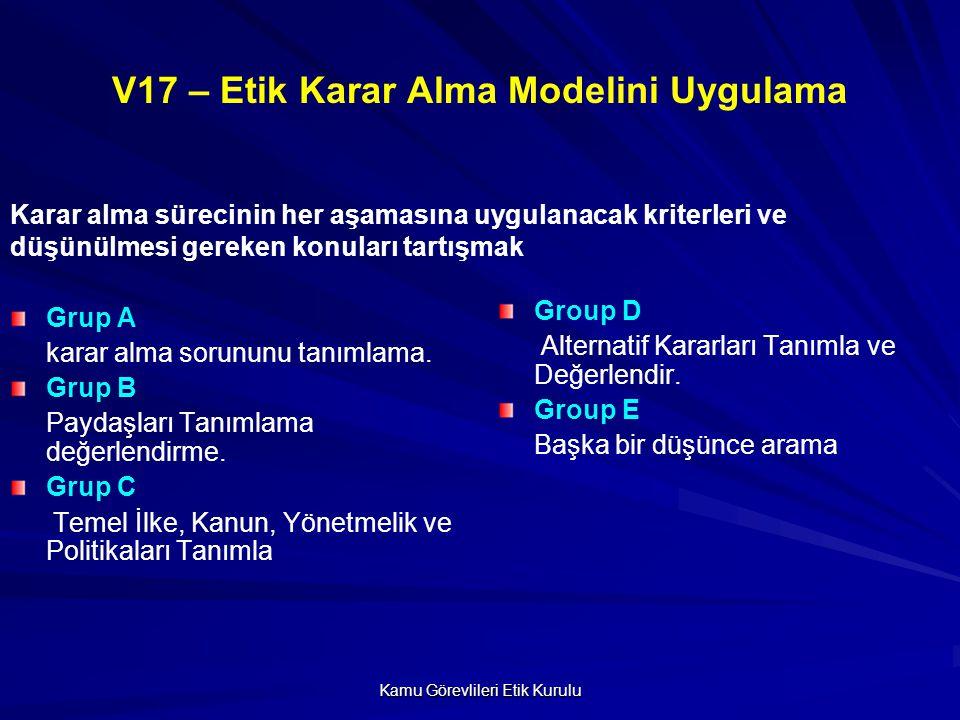 Kamu Görevlileri Etik Kurulu V17 – Etik Karar Alma Modelini Uygulama Grup A karar alma sorununu tanımlama.