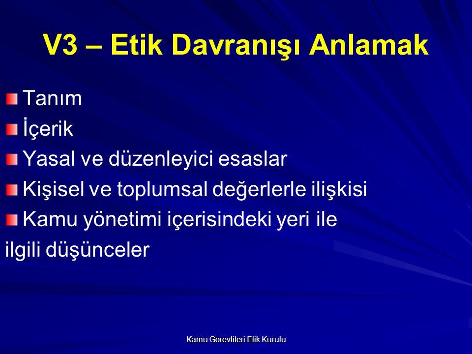 Kamu Görevlileri Etik Kurulu V4 – Turkiye'de Etik Davranışın Yasal Çerçevesi Kanun: Etik Kurul 5176 sayılı kanunla kurulmuştur ve saydamlık, tarafsızlık, dürüstlük, hesap verebilirlik, kamu yararını gözetme gibi etik davranış ilkelerini belirlemeyi ve uygulamayı gözetmeyi amaçlamaktadır.