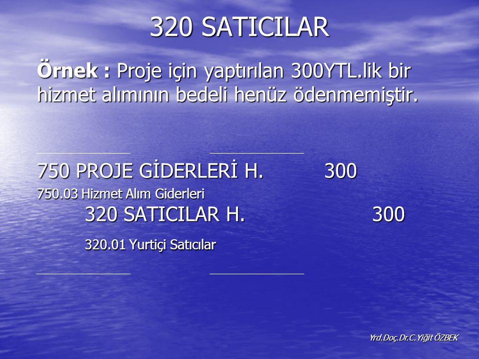 320 SATICILAR Örnek : Proje için yaptırılan 300YTL.lik bir hizmet alımının bedeli henüz ödenmemiştir.